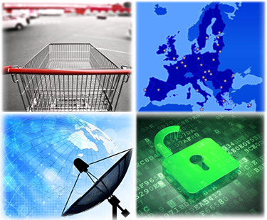 shopping cart, European map, telecommunications satellite network and cyber securit images
